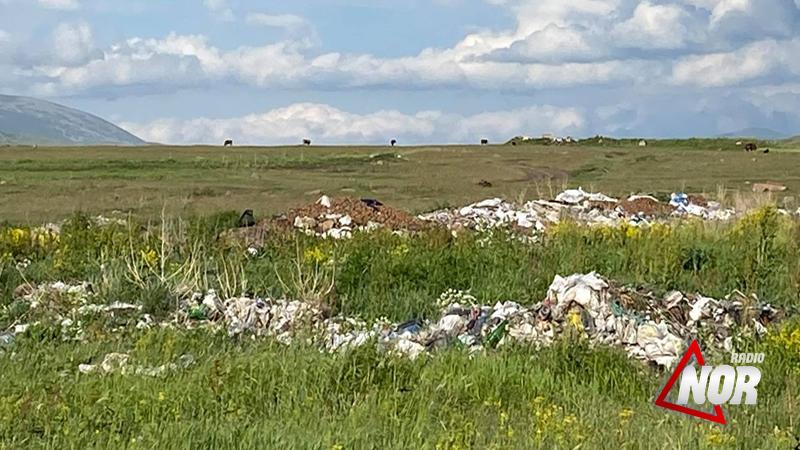 Огромное количество мусора на дороге села Б. Гондура – М. Гондура