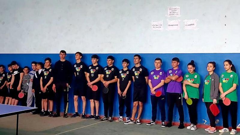 Чемпионат Самцхе-Джавахети по настольному теннису в спортзале села Ороджалар
